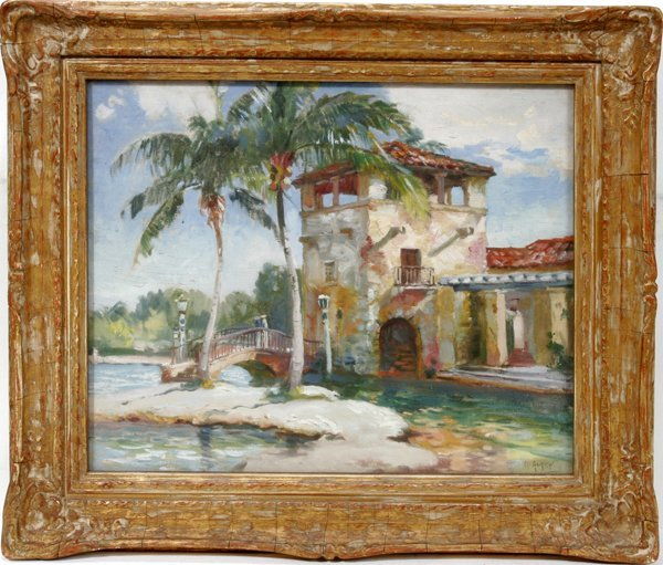072016: MATHIAS ALTEN OIL ON BOARD, POOL CORAL GABLES