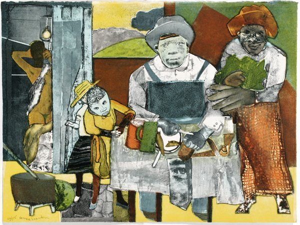 072018: ROMARE BEARDEN AQUATINT & PHOTOENGRAVING