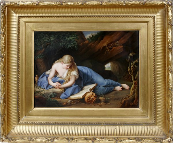 072019: KPM PORCELAIN PLAQUE, MARY MAGDALENE RECLINING