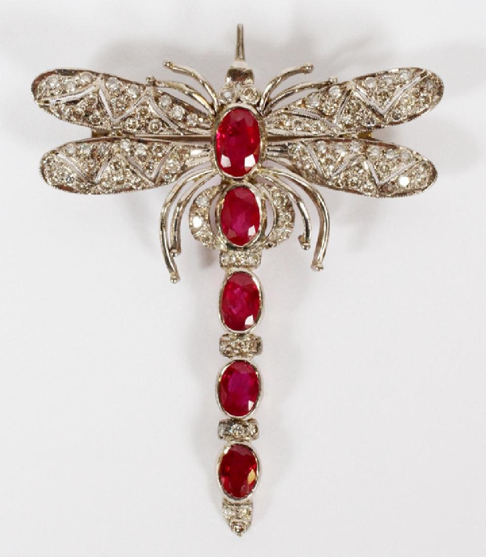 ART DECO GOLD DIAMOND AND RUBY DRAGONFLY PIN/BROOCH