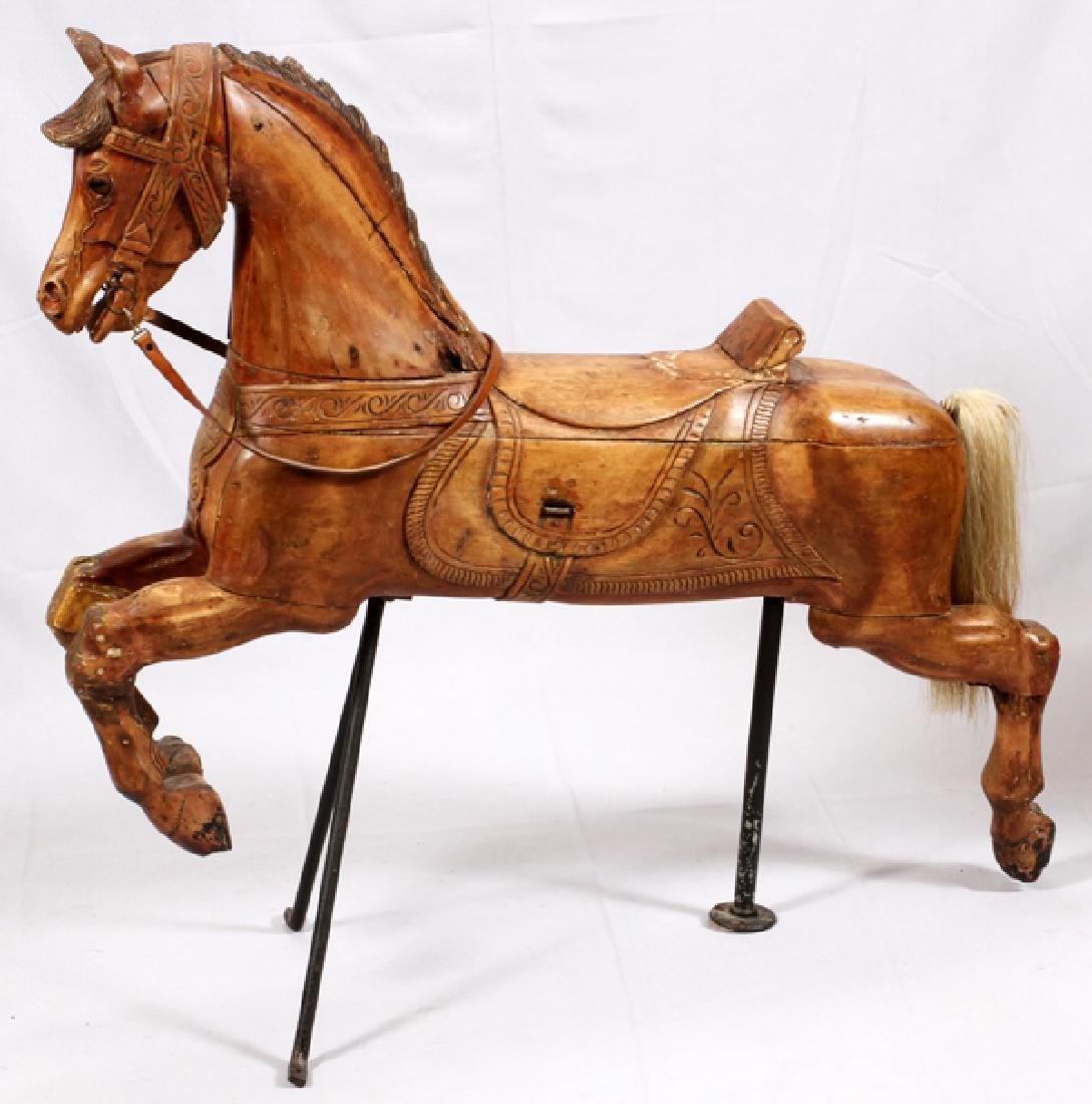 AMERICAN HAND CARVED PINE CAROUSEL HORSE