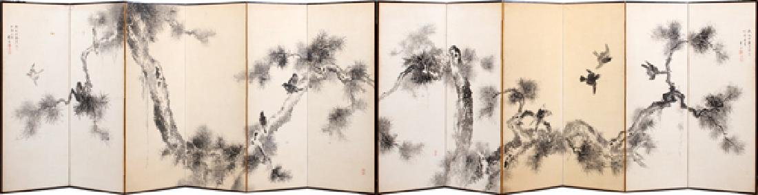 JAPANESE HAND PAINTED SILK ON PAPER 12 PANEL SCREEN