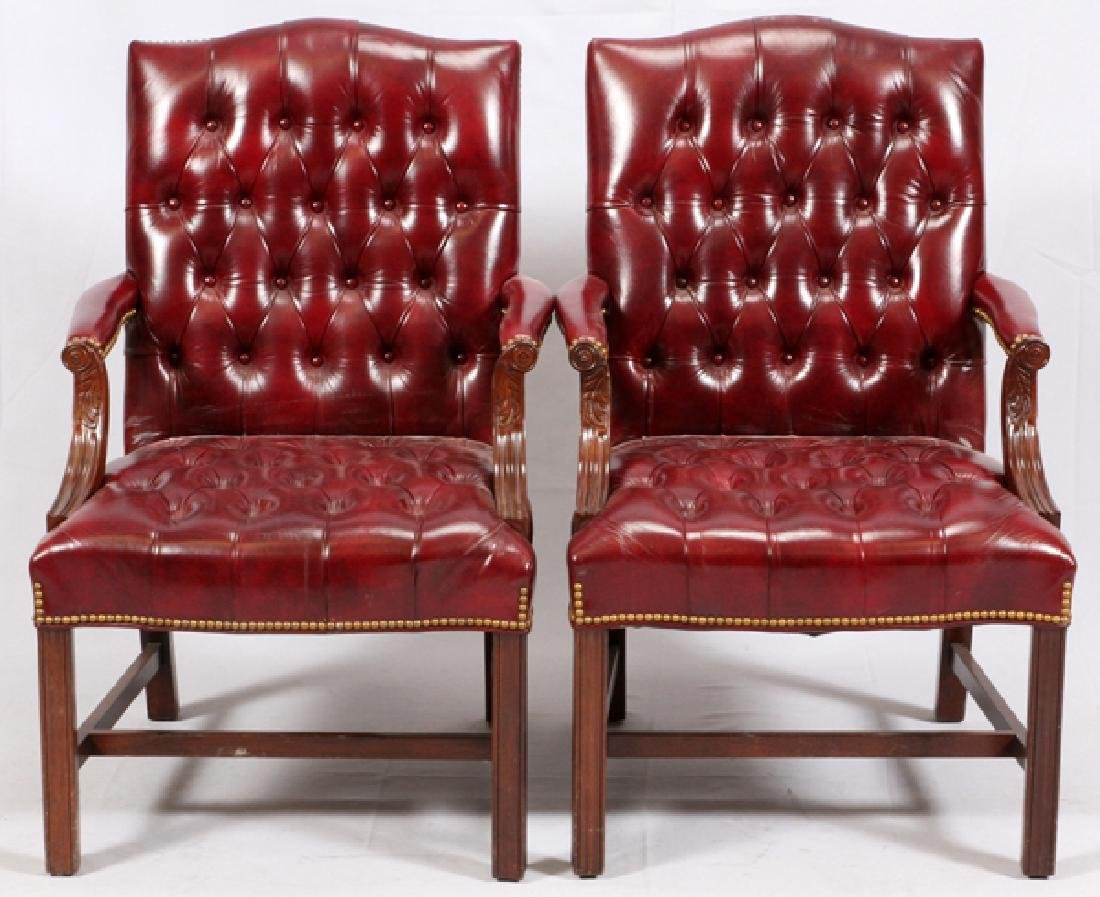 MAHOGANY TUFTED LEATHER CHAIRS PAIR