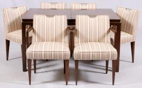 DUNBAR WALNUT DINING TABLE AND 6 CHAIRS C1960