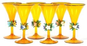VENETIAN TANGERINE COLORED ART GLASS STEMWARE