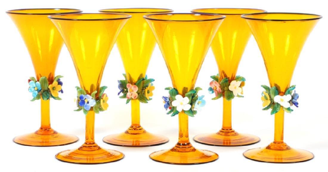VENETIAN TANGERINE COLORED ART GLASS STEMWARE