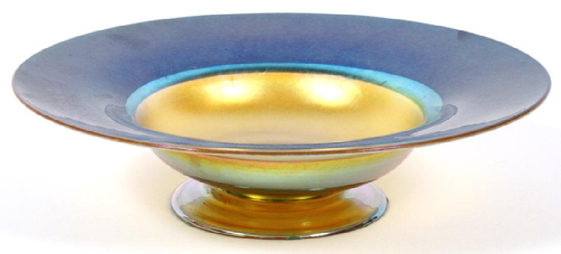 TIFFANY FAVRILE GOLD AND BLUE FOOTED BOWL