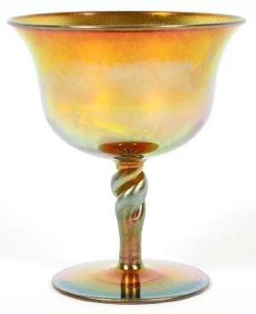 STEUBEN AURENE GOLD WINE GOBLET