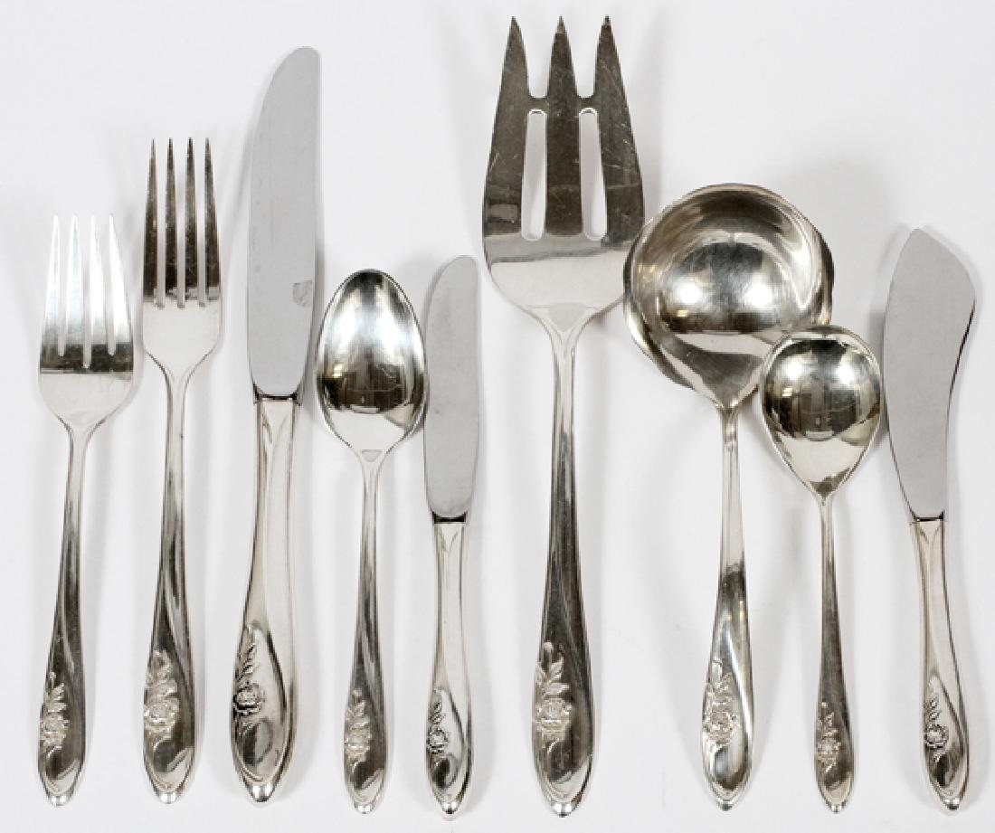 TOWLE SCULPTED ROSE STERLING FLATWARE SET 20TH C.