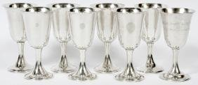 ASSEMBLED SET OF AMERICAN STERLING GOBLETS 8 PIECES