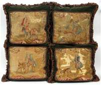 FRENCH AUBUSSON TAPESTRY PILLOWS 4 PIECES