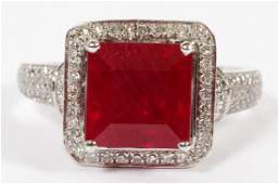 RUBY SQUARE CUT AND DIAMOND SET IN 14 KT GOLD RING