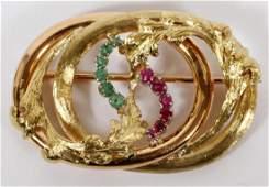 ITALIAN 18KT GOLD W/ RUBIES AND EMERALD BROOCH