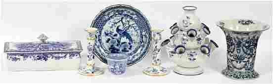 BLUE & WHITE POTTERY & PORCELAIN TABLEWARE