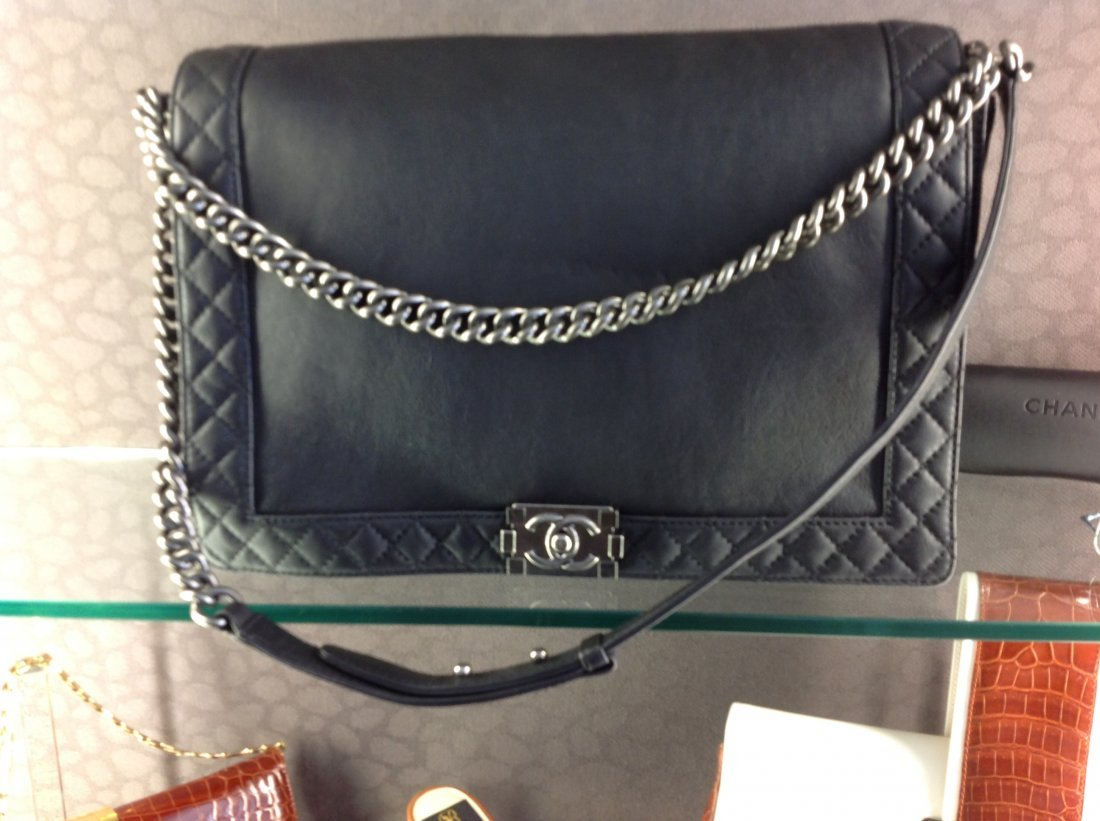 "CHANEL ""LE BOY"" LARGE GUNMETAL GREY HANDBAG"