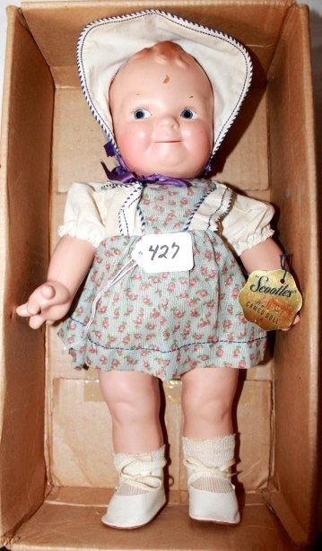 "16"" SCOOTLES- GOLD CAMEO DOLL TAG. ORIGINAL BLUE DRESS."