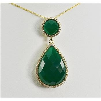 9.44 Carats t.w. Diamond and Green Agate Pendant 14KYG