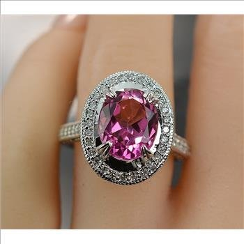6.25 Carats t.w. Diamond and Pink Topaz Halo Ring 14KWG