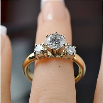 1.36 Carats t.w. Diamond Engagement Ring 14K 2Tone Gold