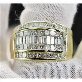3.85 Carats t.w. Diamond Invisible Set Men's Ring 18KYG