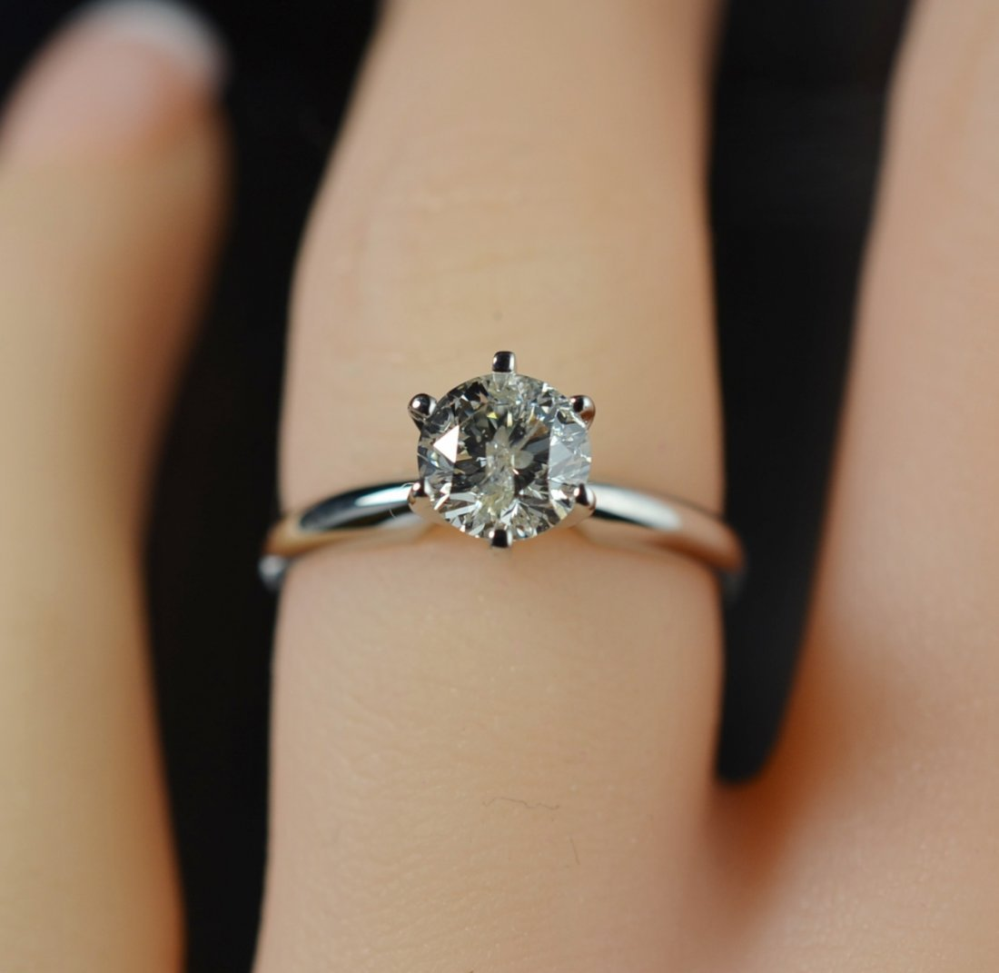0.87 Carat Diamond Solitaire Engagement Ring 14K Gold