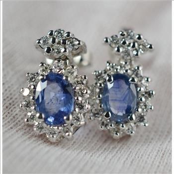 2.58 Carats t.w. Diamond & Sapphire Halo Earrings 14KWG