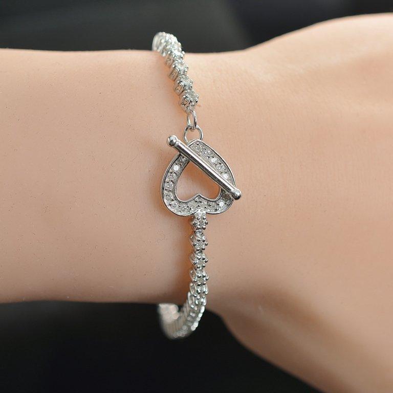 1.21 Carats t.w. Diamond Heart Toggle Tennis Bracelet