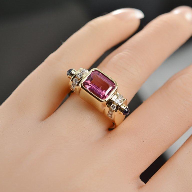 2.32 Carats t.w. Diamond,Sapphire, Pink Topaz Ring 14K