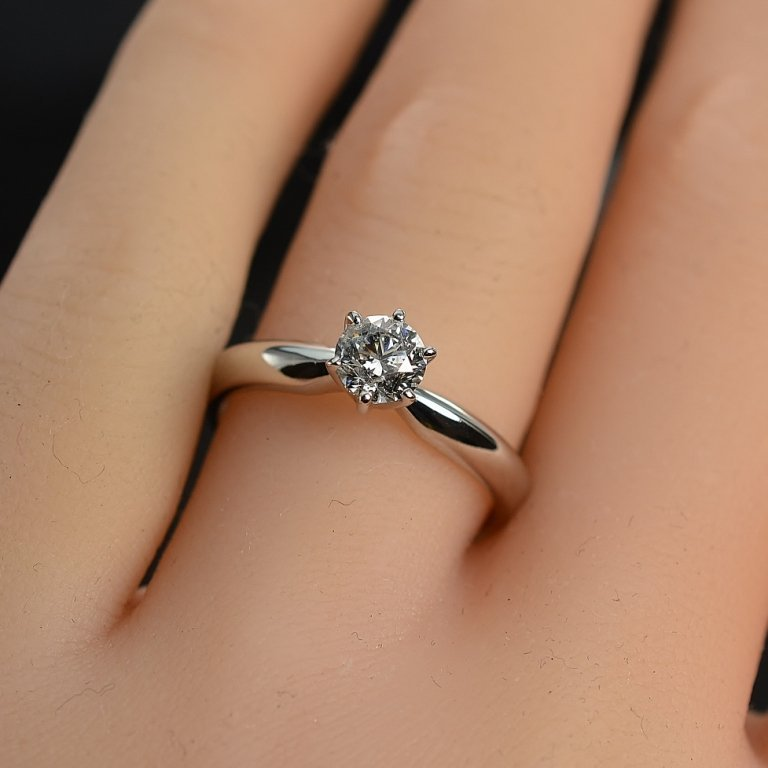 0.51 Carat Round Diamond Solitaire Ring 14K White Gold