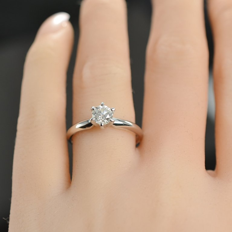 0.46 Carat t.w. Diamond Solitaire Engagement Ring 14K