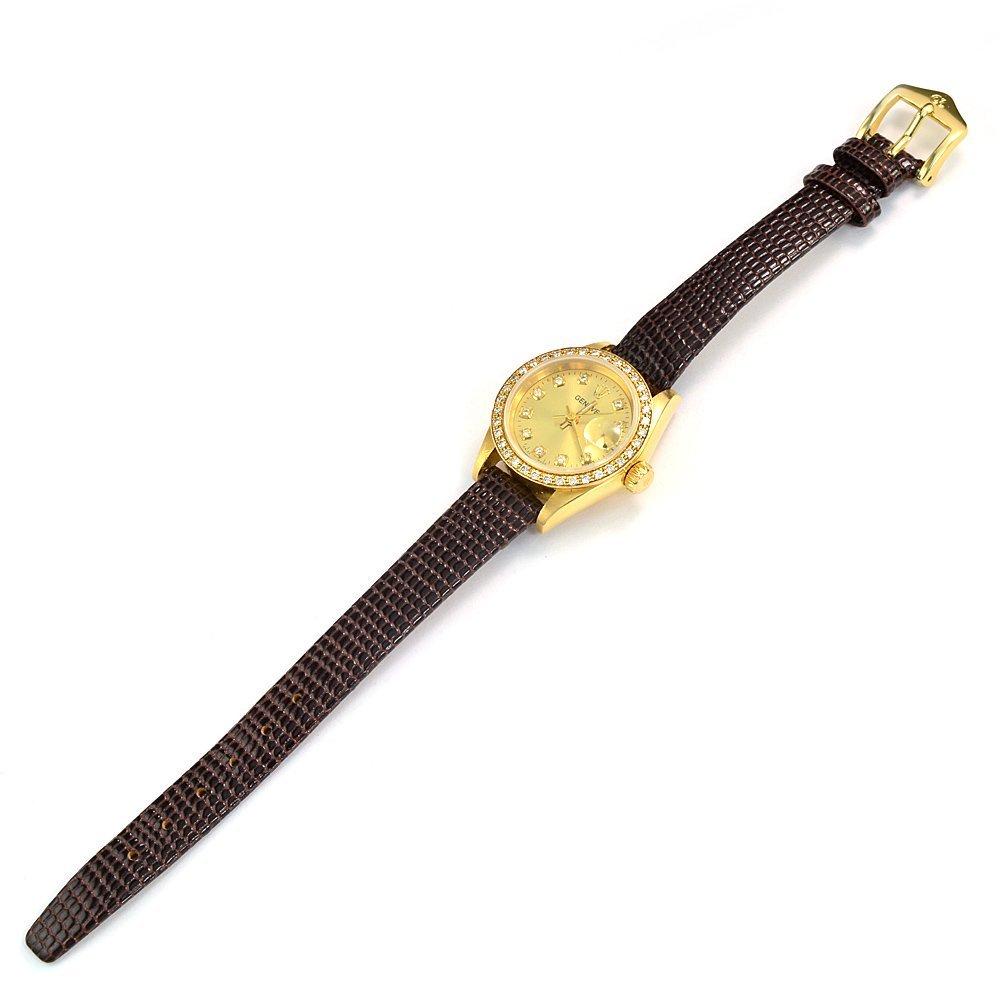 18KY Geneva Brand Ladys Watch W/Diamond Hour Markers