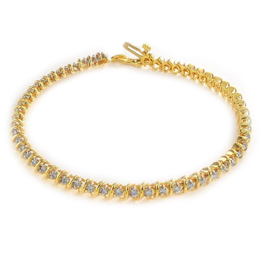 18KT Yellow Gold 1.00CTW Diamond S-Link Style Bracelet