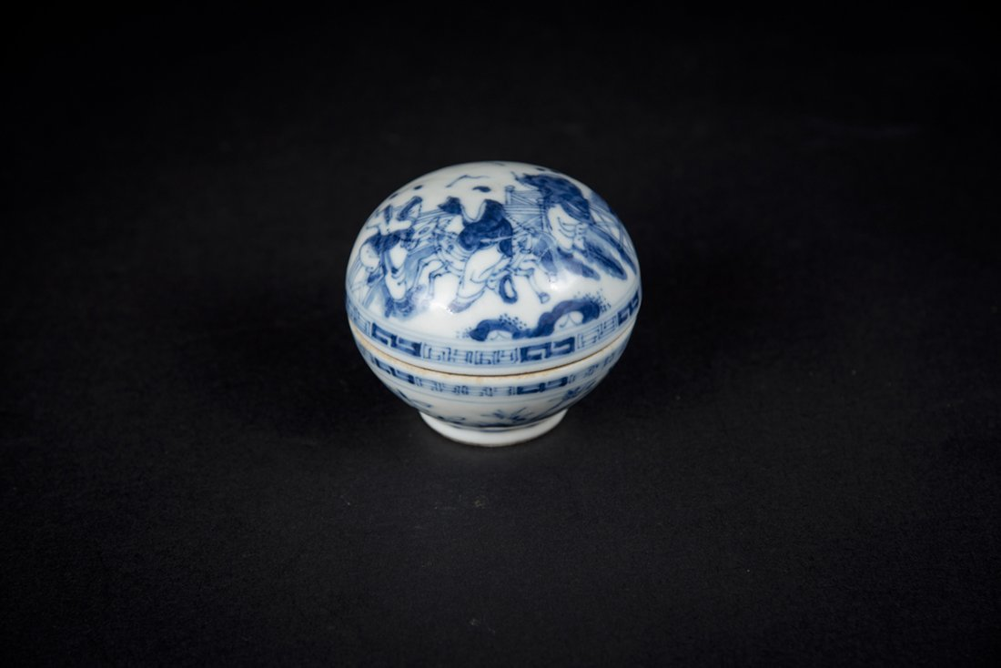 Guangxu, Blue and White Figural Powder Box