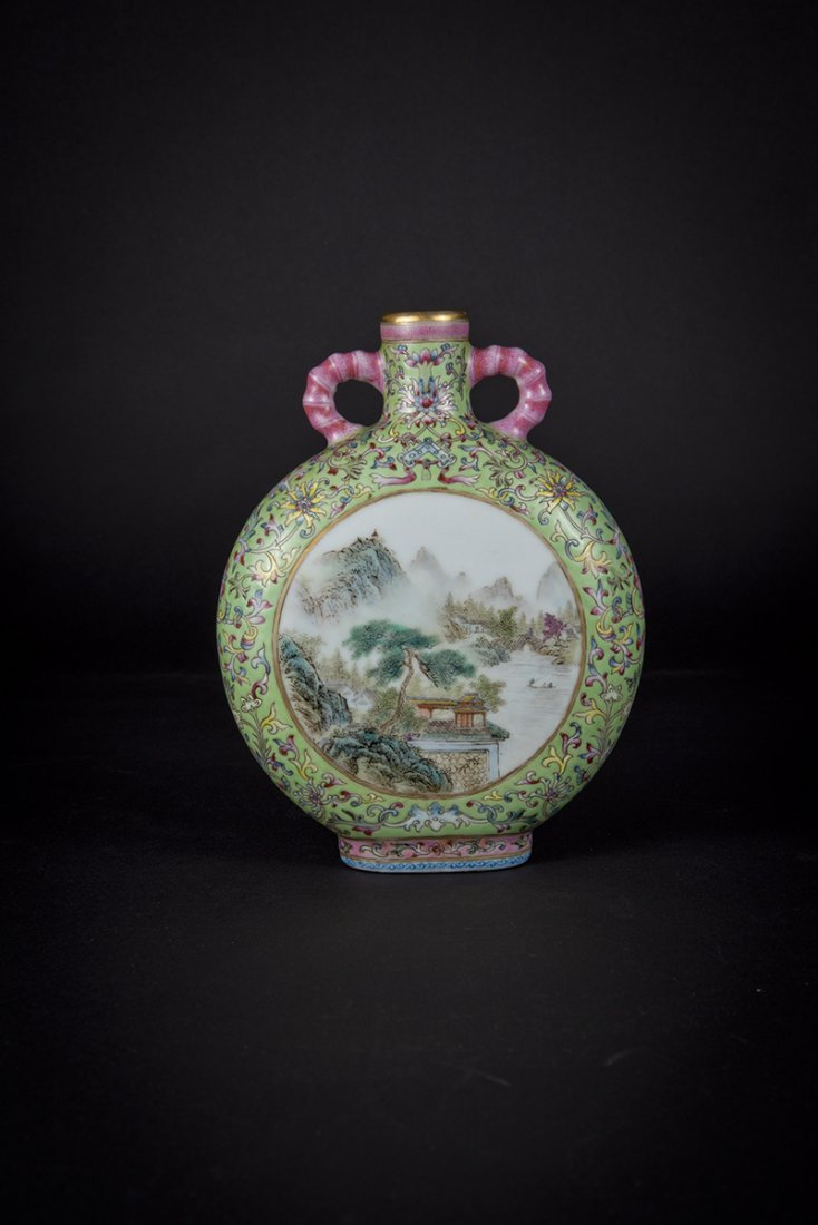 Republic Period, Famille-rose Moon Flask