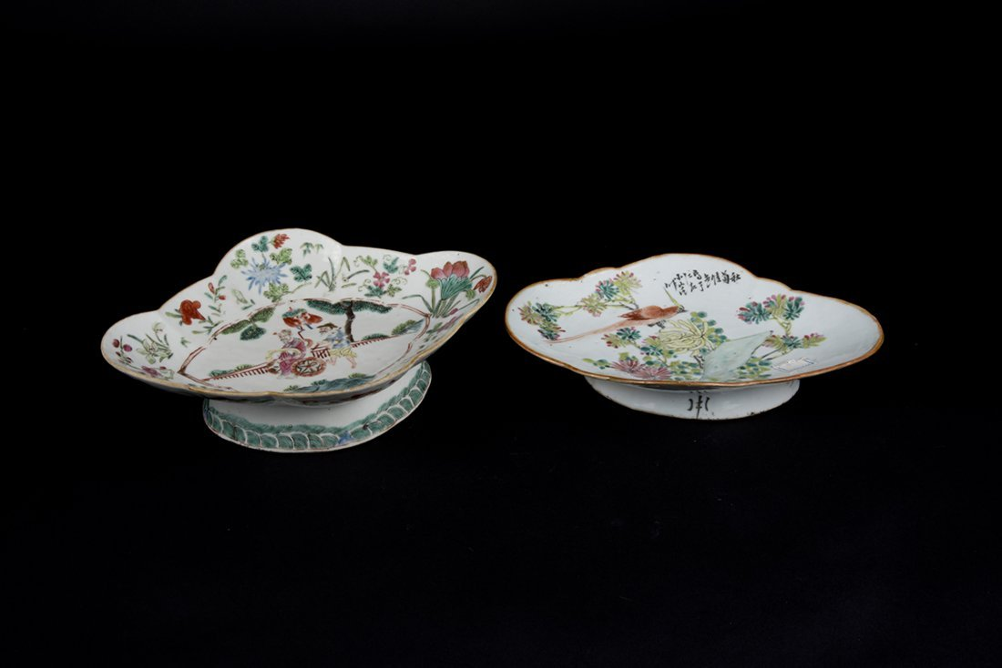 Qing, Two Famille-rose Figures and Flowers Stem Plate