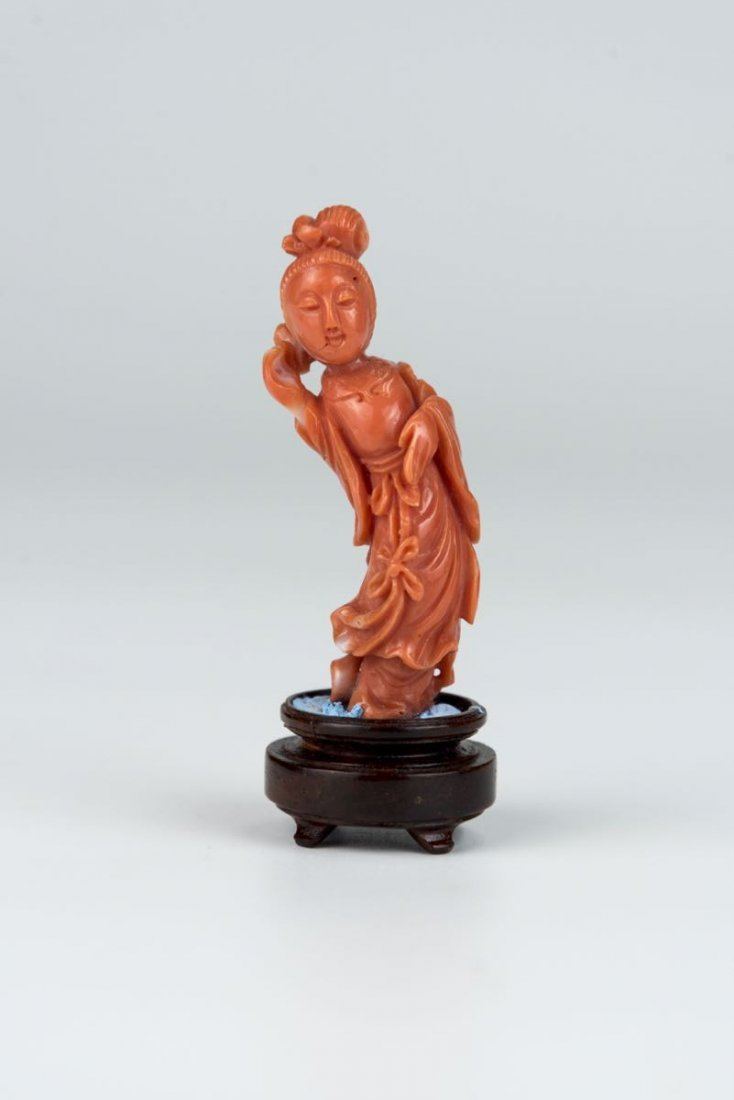 Qing Dynasty, Carved Court Lady Coral