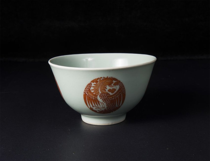 A Celadon-Ground Iron Red Decorated 'Phoenix' Bowl