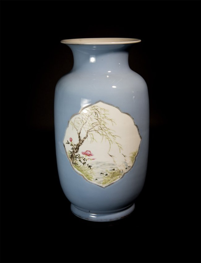 Clair-de-lune Glazed Vase with Windows of Birds and