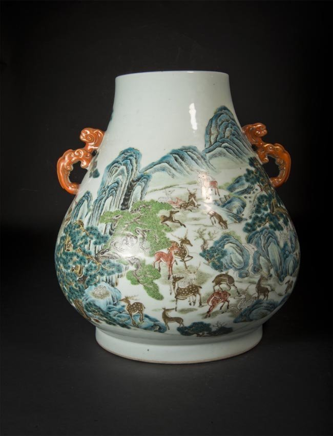 Famille-rose Hundred Deer Vase