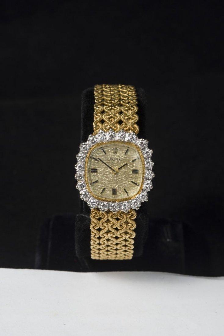 Rolex, manual movement, brilliant cut diamonds on the