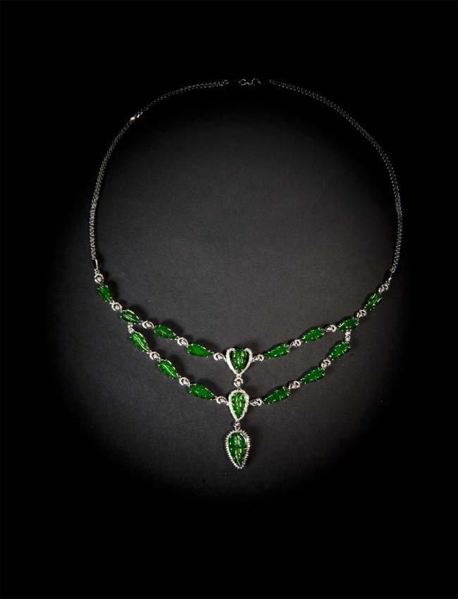 Natural Jadeite (Grade A)Necklace Nanyang Gemological
