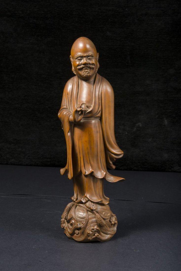 Boxwood Figure Damo, Crossing The Yangxi River. Qing