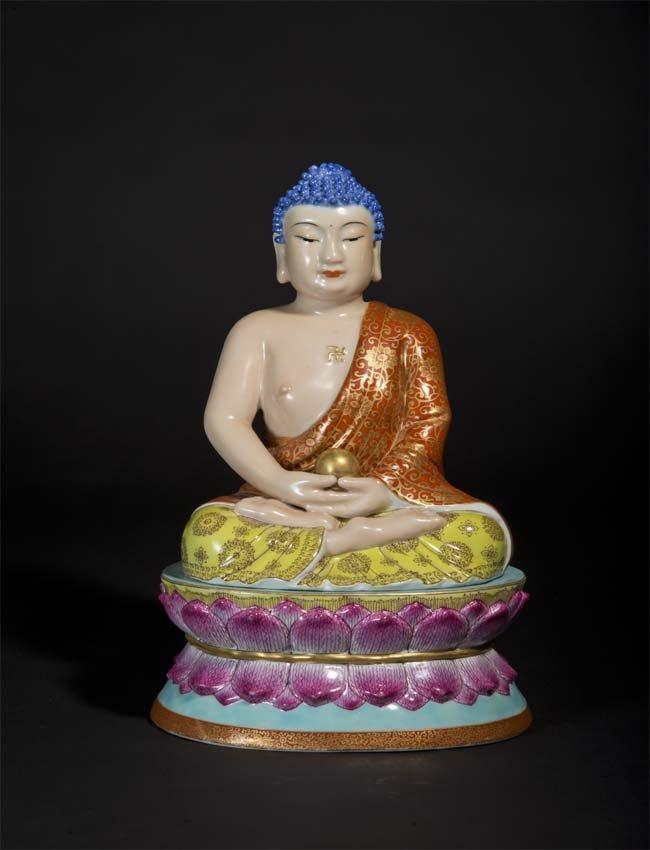 Procelain  Famille-Rose Buddha  Seated on Lotus 清