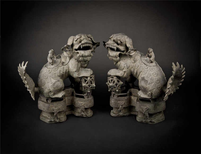 Ming, A Pair of Sandalwood Lion Censer