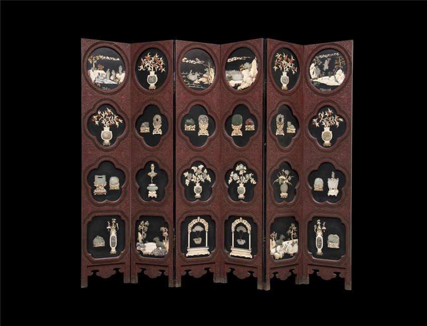 Qing, Lacquer Six-Section Folding Screen