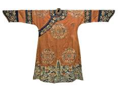 Qing, Embroidered Dragon Robe with Flower