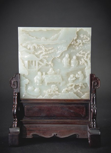 Qing,  Table Screen with Jade Figure Plaque
