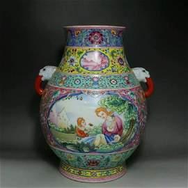 large Asian famille rose porcelain jar