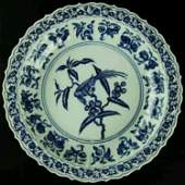 Large Ming dynasty B/W porcelain charger