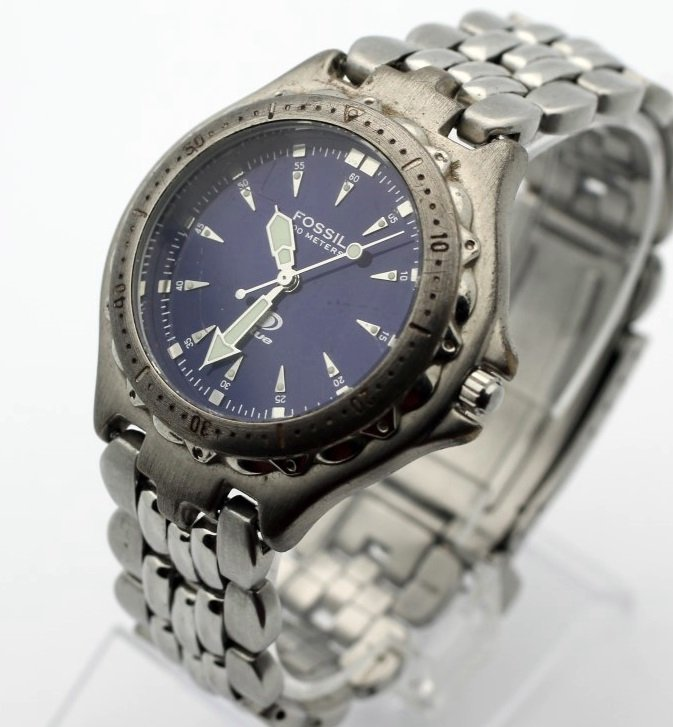 Fossil AM3067 Purple Blue Face Mens Stainless Steel